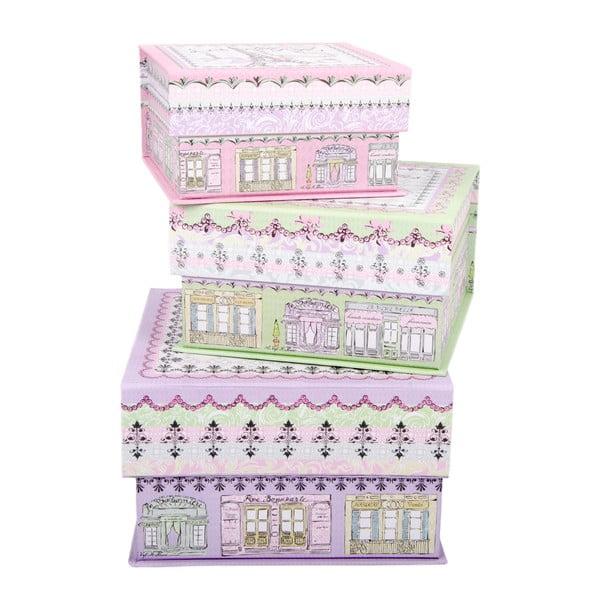 Sada 3 úložných krabic Little Houses