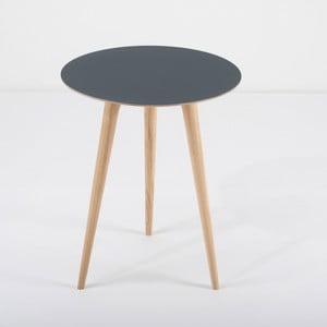 Příruční stolek z dubového dřeva s modrou deskou Gazzda Arp, Ø45cm