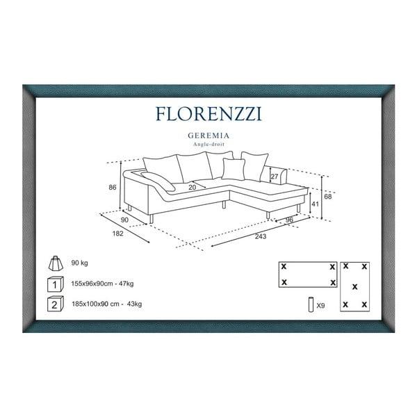 Světle šedá pohovka Florenzzi Geremia s lenoškou na pravé straně