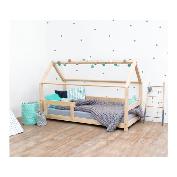 Přírodní dětská postel s bočnicí ze smrkového dřeva Benlemi Tery, 70 x 160 cm