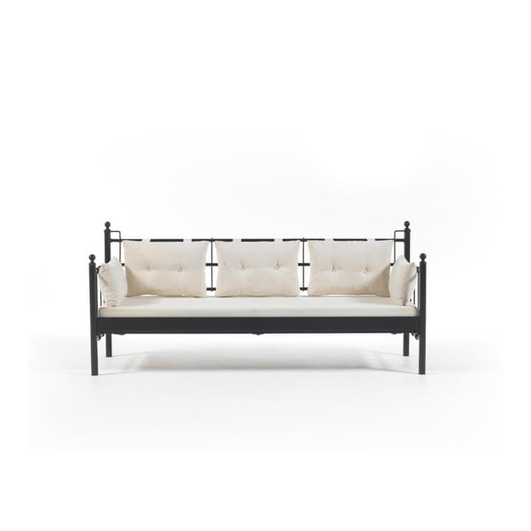 Canapea cu 3 locuri de grădină Lalas DKS, 96 x 209 cm, bej-negru