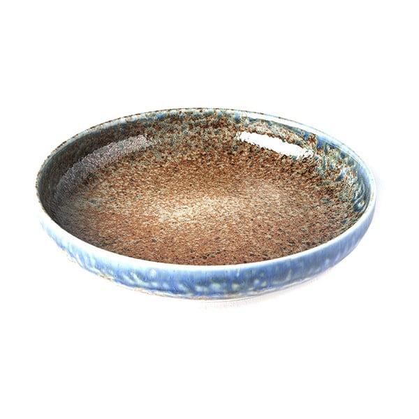 Béžovo-modrý keramický tanier so zdvihnutým okrajom MIJ Earth & Sky, ø22cm