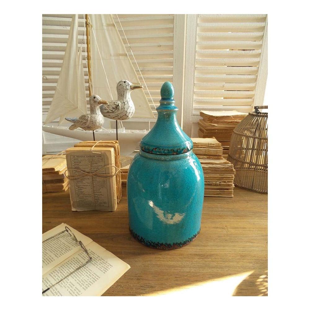 Tyrkysová keramická nádoba s víkem Orchidea Milano, výška 35 cm