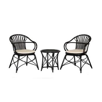 Set 2 scaune și măsuță din ratan WOOX LIVING Ratta imagine
