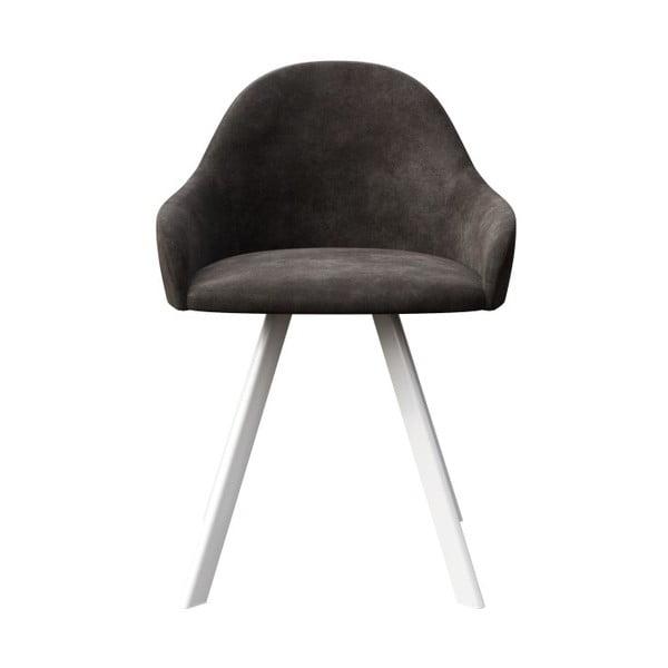 Tmavě šedá jídelní židle s bílými nohami MESONICA Brook
