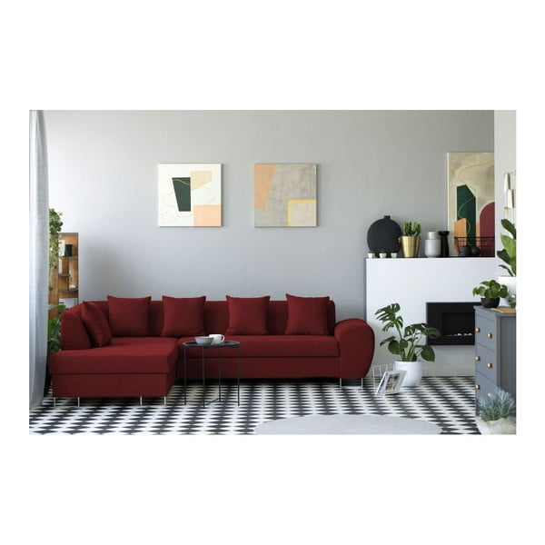 Červená rohová rozkládací pohovka s úložným prostorem Kooko Home XL Left Corner Sofa