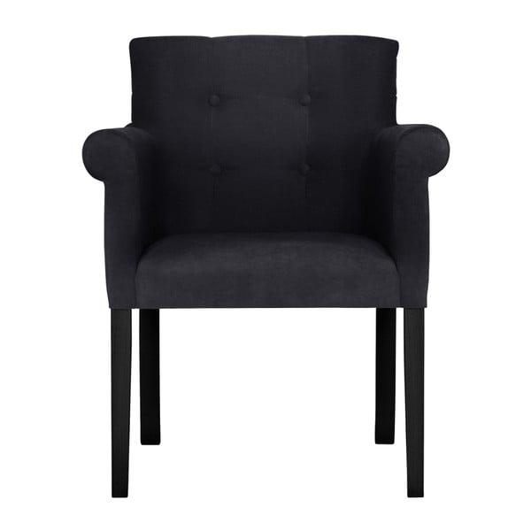 Černá židle s černými nohami z bukového dřeva Ted Lapidus Maison Flacon