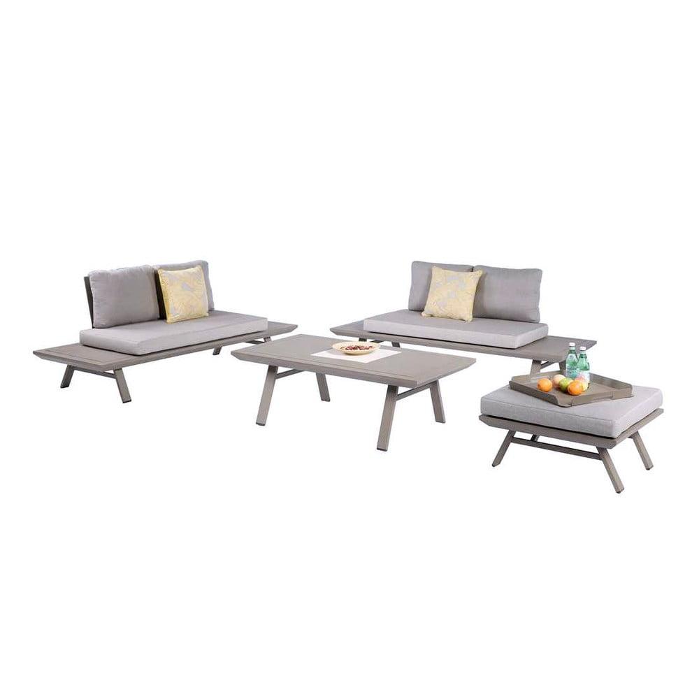 Set zahradního nábytku v šedé barvě s hliníkovou konstrukcí ADDU Celia