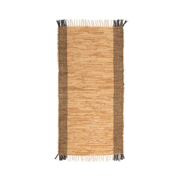Hnědý kožený běhoun Simla, 250x70cm