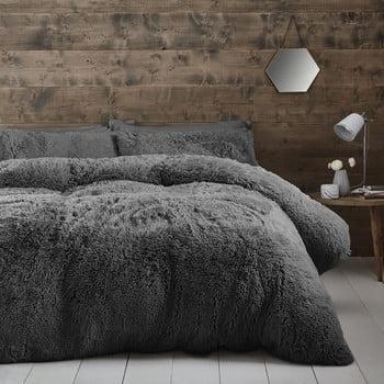 Lenjerie de pat din fleece Catherine Lansfield Cuddly, 135 x 200 cm, gri închis