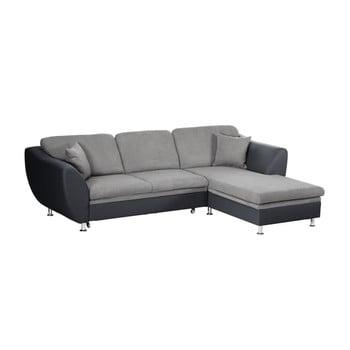 Canapea extensibilă cu șezlong pe partea dreaptă Florenzzi Maderna Anthracite/Light Grey