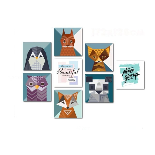 Set 8 tablouri Insigne Animals