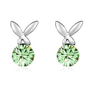 Náušnice s zelenými krystaly Swarovski a bílým zlatem Levitando