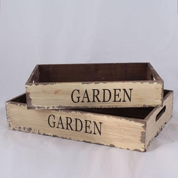 Sada 2 dřevěných přepravek Garden Time