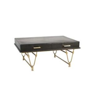 Černý konferenční stolek z mangového dřeva s detaily ve zlaté barvě Miloo Home Savoy