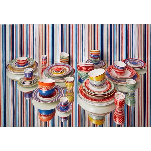 Sada 4 porcelánových talířků s puntíky Oilily 10 cm, červená