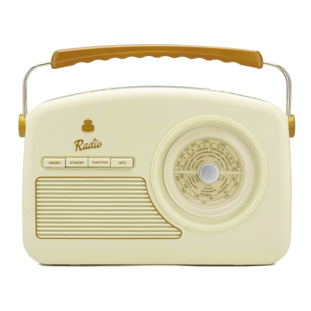 Krémově bílé rádio GPO Rydell Nostalgic Dab Radio Cream