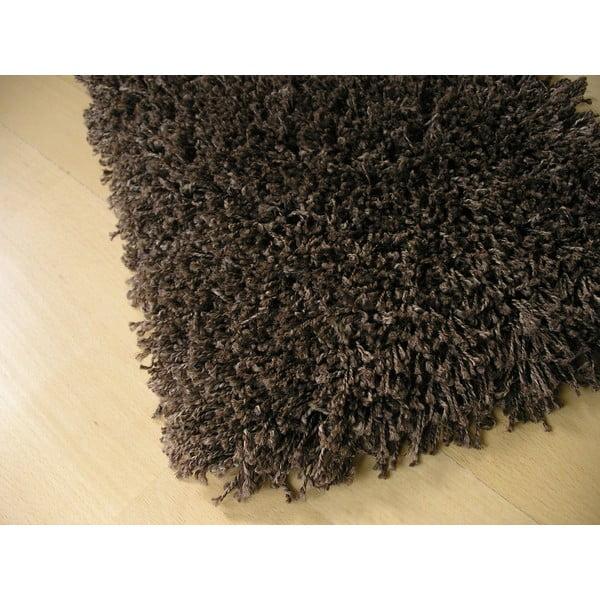 Koberec Super Shaggy 120x120 cm s 5 cm dlouhým vlasem, hnědý