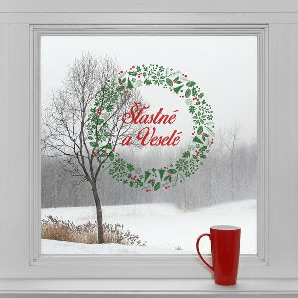 Elektrostatické vánoční samolepky Šťastné a veselé