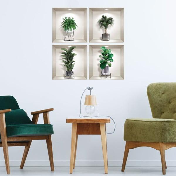 Set 4 autocolante 3D pentru perete Ambiance Indoor Plants