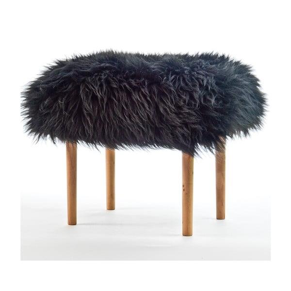 Stolička z ovčí kůže Ceri Coal Black