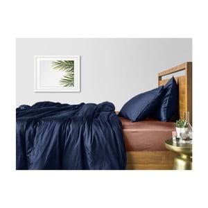 Modré bavlněné povlečení na dvoulůžko s béžovým prostěradlem COSAS Maro, 200 x 220 cm