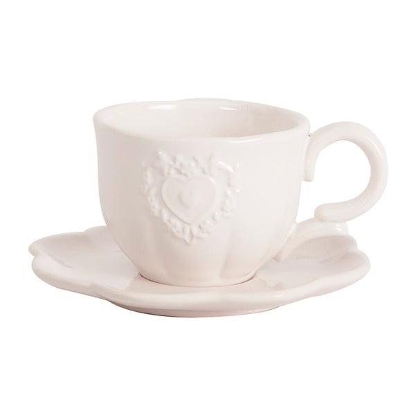 Čajový šálek s podšálkem White Heart