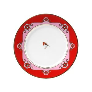 Dezertní talířek Love Birds 17 cm, červený/růžový
