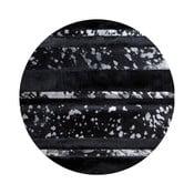 Kožený koberec s detaily stříbrné barvy Pipsa Stripes, ⌀ 100cm
