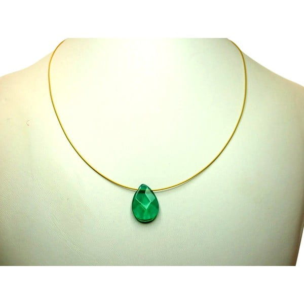 Zlatý náhrdelník Tourmaline Quartz Teardrop (turmalín)