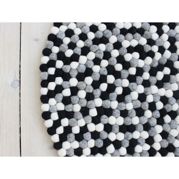 Covor cu bile din lână Wooldot Ball Rugs, ⌀ 120 cm, alb - negru
