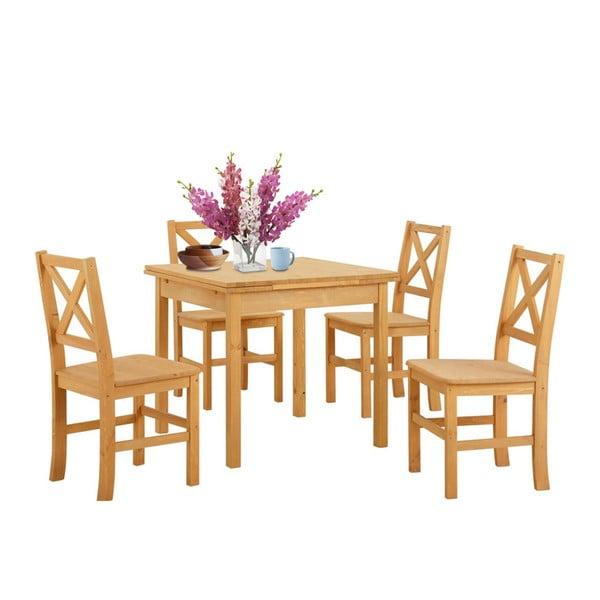 Set jídelního stolu a 4 židlí z borovicového dřeva Støraa  Marlon