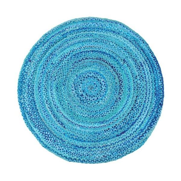 Modrý bavlněný kruhový koberec Eco Rugs, Ø150cm