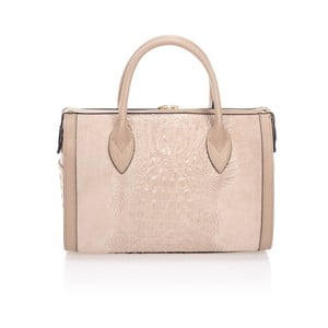 Růžovobéžová kožená kabelka Giorgio Costa Tryna