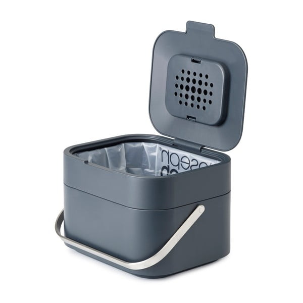 Tmavě šedá nádobka na kompostovatelný odpad Joseph Joseph IntelligentWaste, 4l