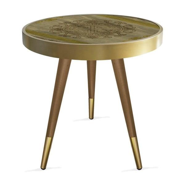 Príručný stolík Rassino Wooden Brown Yellow Circle, ⌀ 45 cm