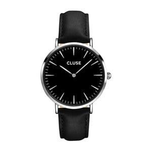 Dámské hodinky s černým koženým řemínkem a černým ciferníkem Cluse La Bohéme