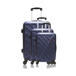 Sada 3 tmavě modrých cestovních kufrů na kolečkách Hero Roma