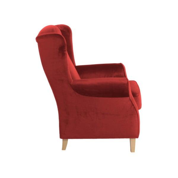 Cihlově rudé křeslo ušák Max Winzer Lorris Velour Brick