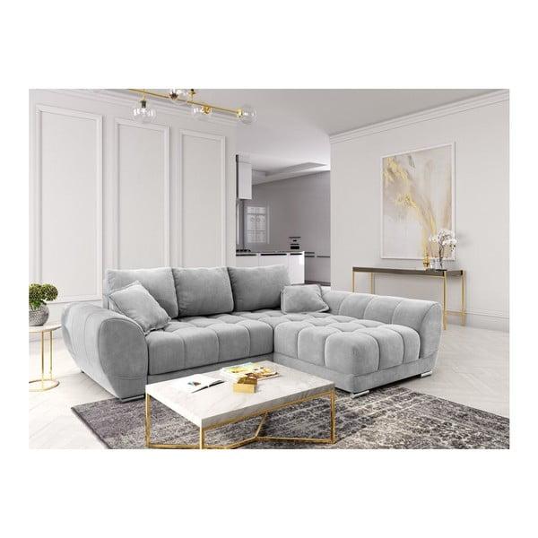 Canapea extensibilă cu înveliș de catifea Windsor & Co Sofas Nuage, pe partea dreaptă, gri deschis