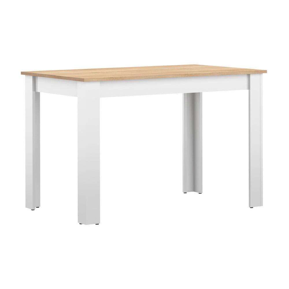 Bílý jídelní stůl s deskou v dekoru bukového dřeva Symbiosis Nice, 110 x 70 cm