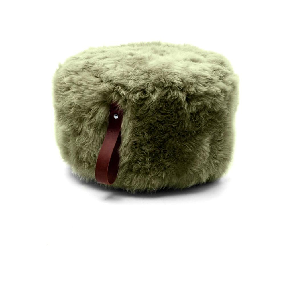 Olivově zelený puf z ovčí kožešiny s hnědým detailem Royal Dream,Ø60cm
