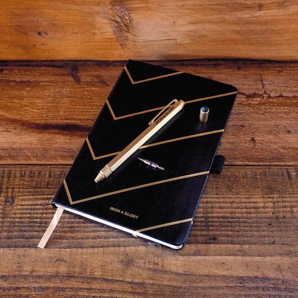 Komplet czarnego notesu i długopisu w złotym kolorze Luckies of London