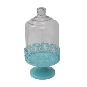 Suport servire cu capac sticlă Mauro Ferretti, albastru, Ø 13 cm