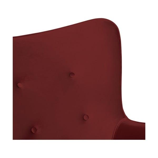 Křeslo a podnožka v barvě burgundy s podnoží v přírodní barvě Vivonita Cora Velvet