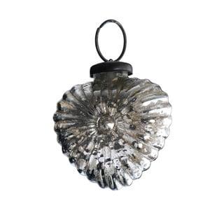 Set šesti skleněných ozdob Srdce, antique, stříbrná