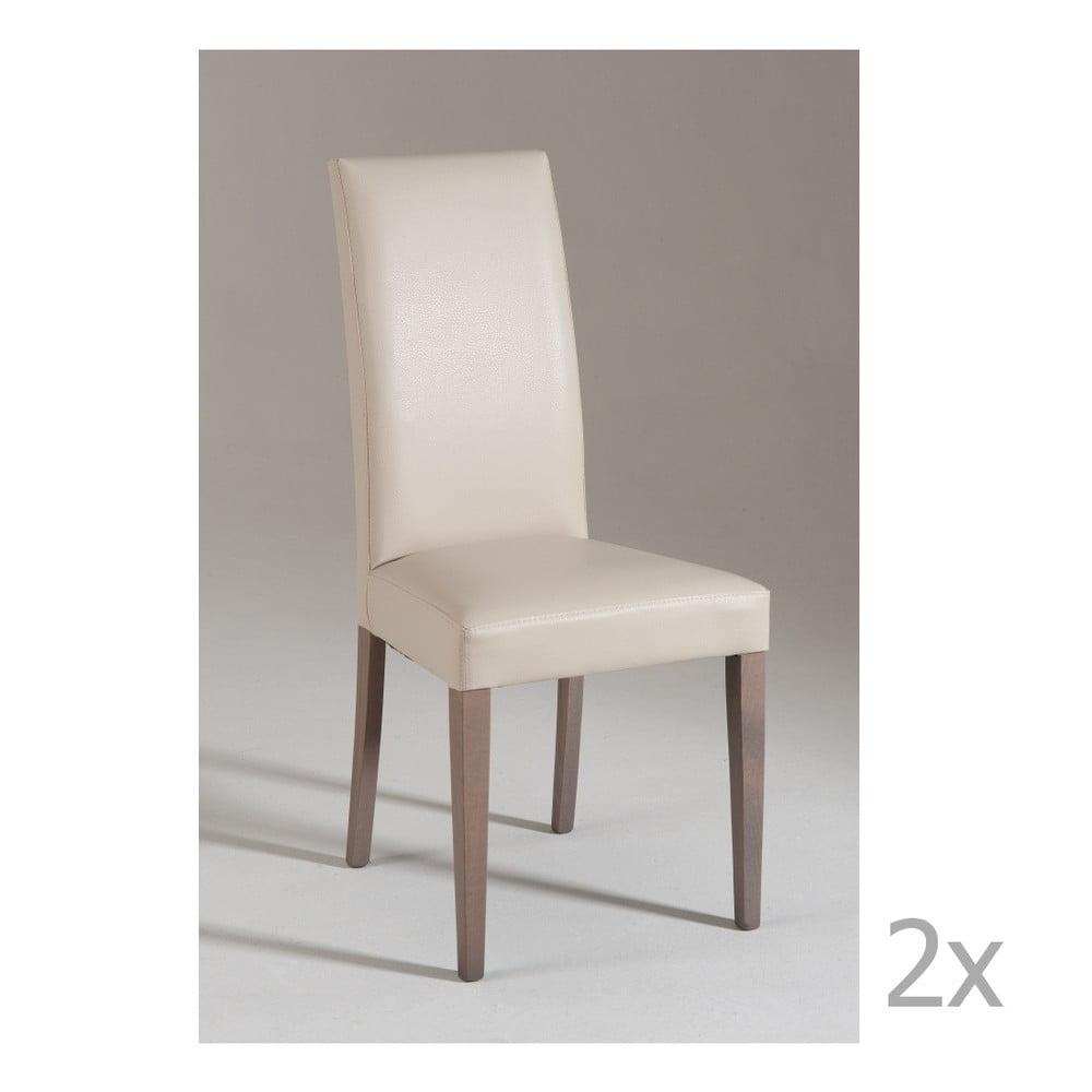 Sada 2 krémových jídelních židlí Castagnetti Tempi