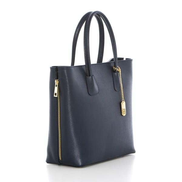 Tmavě modrá kožená kabelka Federica Bassi Saffiano