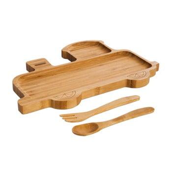Set pentru copii cu platou și tacâmuri din lemn Bambum Train de la Bambum
