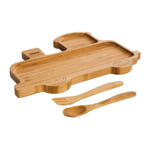 Set pentru copii cu platou și tacâmuri din lemn Bambum Train